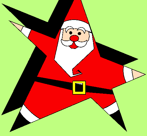 Coloring page Star shaped Father Christmas painted bypapa   carlos a