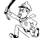 Coloring page Police officer running painted bypoice officer