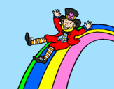 Coloring page Leprechaun on a rainbow painted byTOTTY