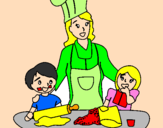 Coloring page Cooking with mom painted byMarga
