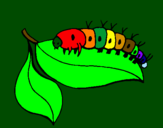 Coloring page Caterpillar on leaf painted bydiego