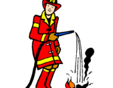 Coloring page Firefighter putting out fire painted byviki