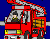 Coloring page Fire engine painted byomar