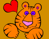 Coloring page Tiger madly in love painted byEleni