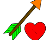 Coloring page Heart and arrow painted byhannah