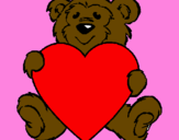Coloring page Bear in love painted bysos