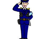 Coloring page Police officer waving painted bypolice man