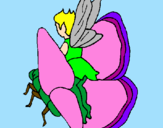 Coloring page Fairy and butterfly painted byolivia