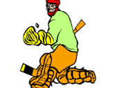 Coloring page Goaltender stopping puck painted bynapo
