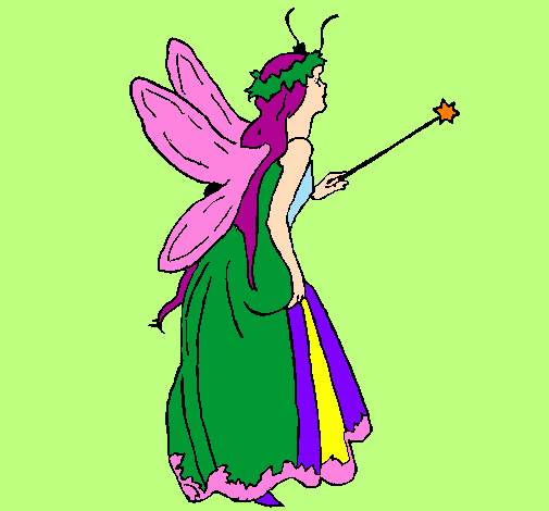 Coloring page Fairy with long hair painted bylika