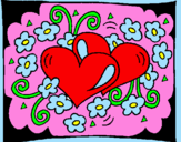 Coloring page Hearts and flowers painted bycaiti