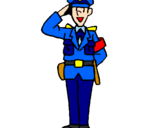 Coloring page Police officer waving painted byviki