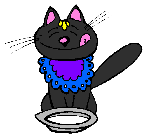Coloring page Cat eating painted bydavianna2001