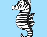 Coloring page Sea horse painted byzebra seahorse