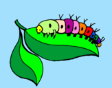 Coloring page Caterpillar on leaf painted byMafalda