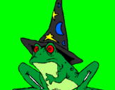 Coloring page Magician turned into a frog painted by julia
