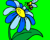 Coloring page Daisy with bee painted byanna