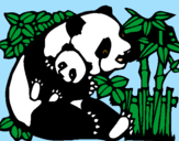 Coloring page Panda mother painted bydani