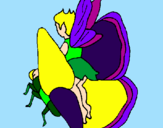 Coloring page Fairy and butterfly painted bycrystalena