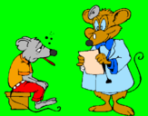 Coloring page Doctor and mouse patient painted byacirema