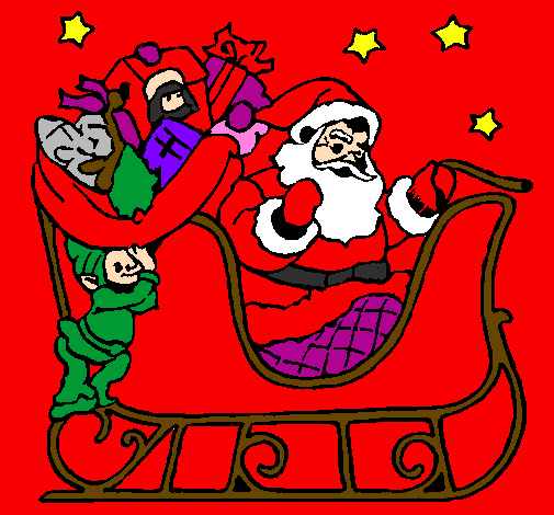 Coloring page Father Christmas in his sleigh painted bymarisol salazar