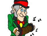 Coloring page Leprechaun with accordion painted byJOC