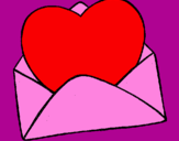 Coloring page Heart in an envelope painted bymimi