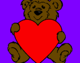 Coloring page Bear in love painted byandy20