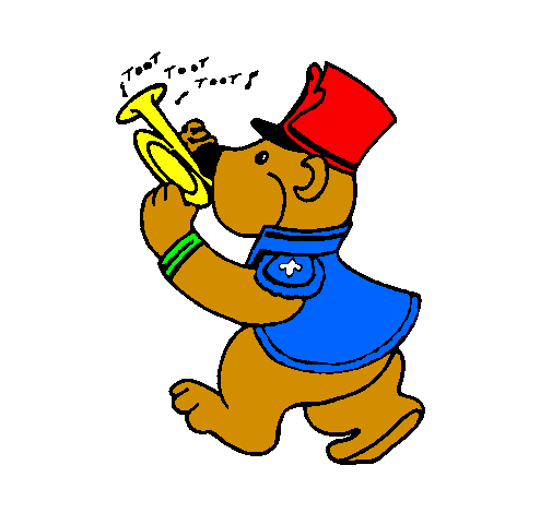 Coloring page Bear trumpet player painted bykomal messi