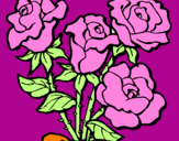 Coloring page Bunch of roses painted byanonymous