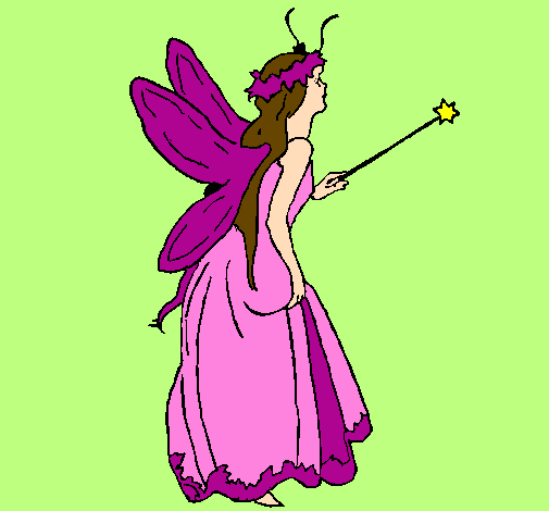 Coloring page Fairy with long hair painted byCandie