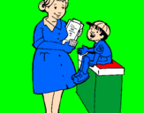 Coloring page Nurse and little boy painted bye