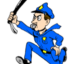 Coloring page Police officer running painted bycilla