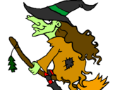 Coloring page Witch on flying broomstick painted bybeth