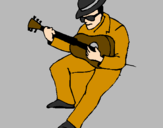 Coloring page Guitarist wearing hat painted byaiste112