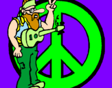 Coloring page Hippy musician painted bylolrz