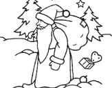 Coloring page Father Christmas delivering presents painted byyuan