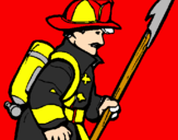 Coloring page Firefighter painted byomar