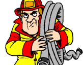 Coloring page Firefighter painted byarlene