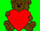 Coloring page Bear in love painted bydamien