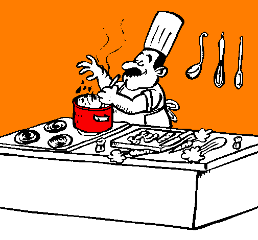 Coloring page Cook in the kitchen painted byasa