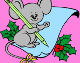 Coloring page Mouse with pencil and paper painted byzoe