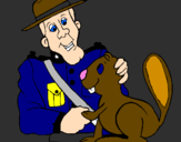 Coloring page Mounted police officer painted byHaden