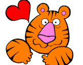Coloring page Tiger madly in love painted byzoe