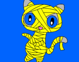 Coloring page Doodle the cat mummy painted bylinda kenya