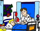 Coloring page Little boy in hospital painted byyboty