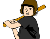 Coloring page Little boy batter painted byleandro