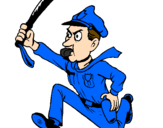 Coloring page Police officer running painted bybrad