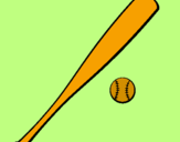 Coloring page Baseball bat and baseball ball painted bymarina