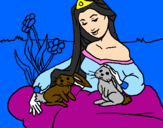 Coloring page Princess of the forest painted byCYNHIA,